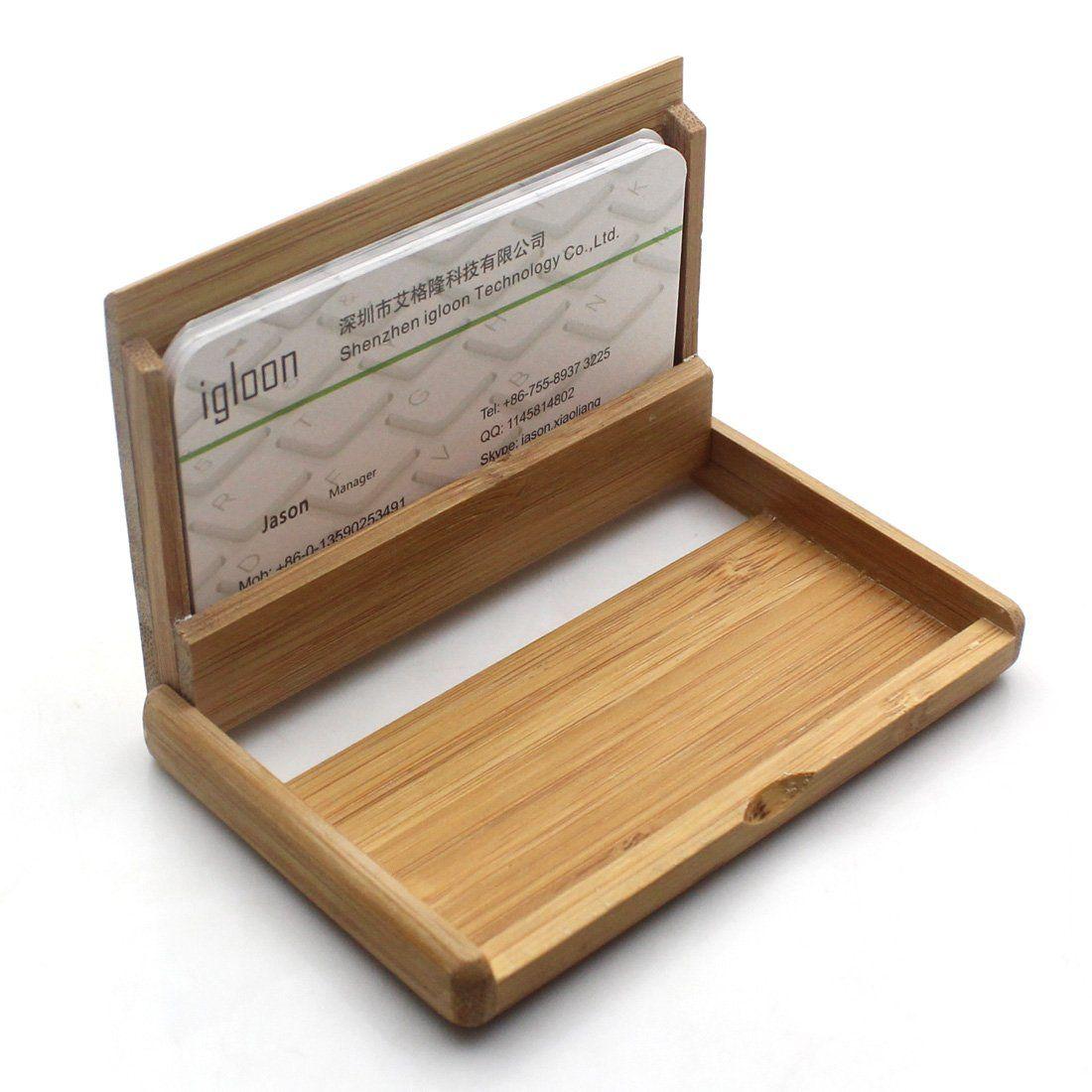 Amazon.com : Rerii Bamboo Business Card Holder Case (Bamboo ...