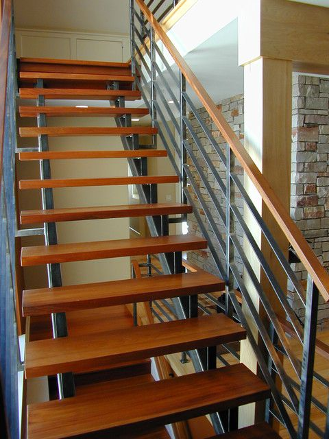 Remarkable Contemporary Stair Railings Photograph With Modern Home Interior  And Wood Floor Stair Treads Also Metal