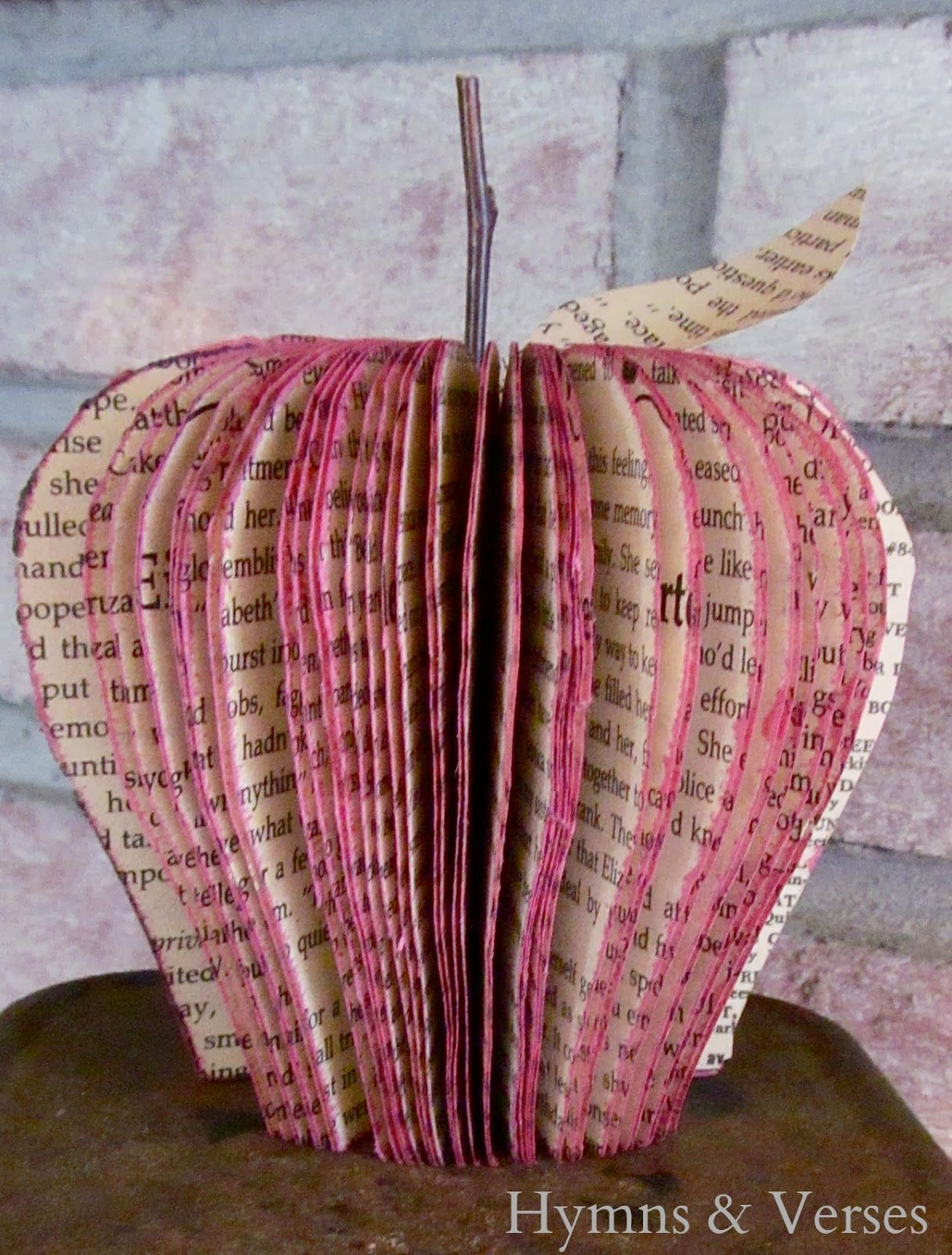 How To Make A Book Page Apple Hymns And Verses Old Book Crafts Homemade Books Book Page Crafts