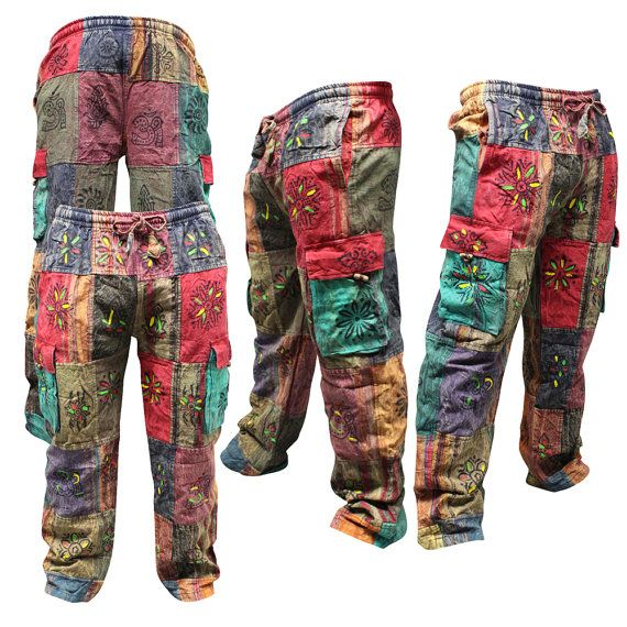 6281e8509165 Traditional Symbols Patched Wide Leg Hippie Men s Trouser Multicolored Side  Pocket Cargo Pants Retro Cotton Ethnic Hippy Boho Casual Pants