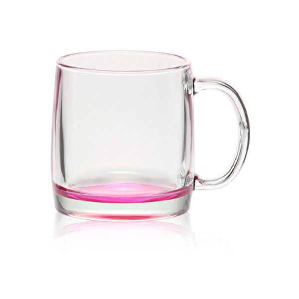 Clear glass coffee mug with handle smooth rim and thick colored