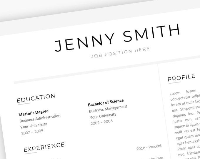Resume Template Word Professional 1 Page Resume 2 Page Resume Modern ...