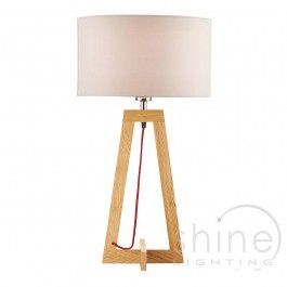 Wisconsin WIS4243 1 Light Table Lamp, Dar Lighting. Ash wood Table Lamp base with red braided cable. Linen cotton drum shade sold separately (See below).  Operated by in line rocker switch.  Double Insulated (Class II)  1 x 60w E27 (ES) GLS bulbs (Not Included)  Height: 49cm Diam: 24cm  Width: 24cm  £59.00 (Base Only)