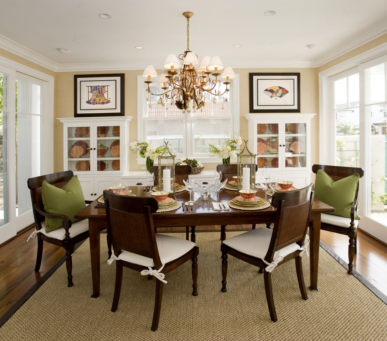 Casual Dining Room Chandeliers: Stunning Dining Room With A A Soft Color Palette And A