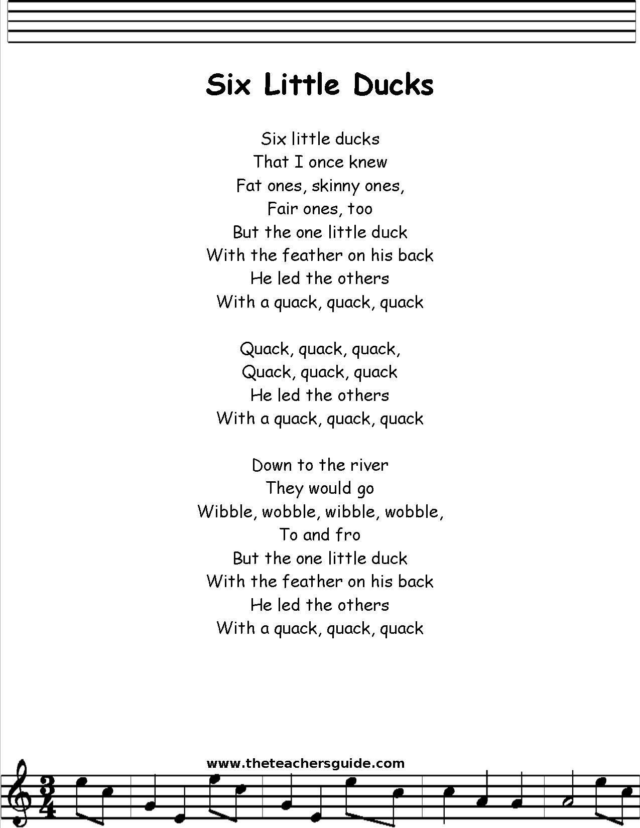 Six Little Ducks Lyrics Printout