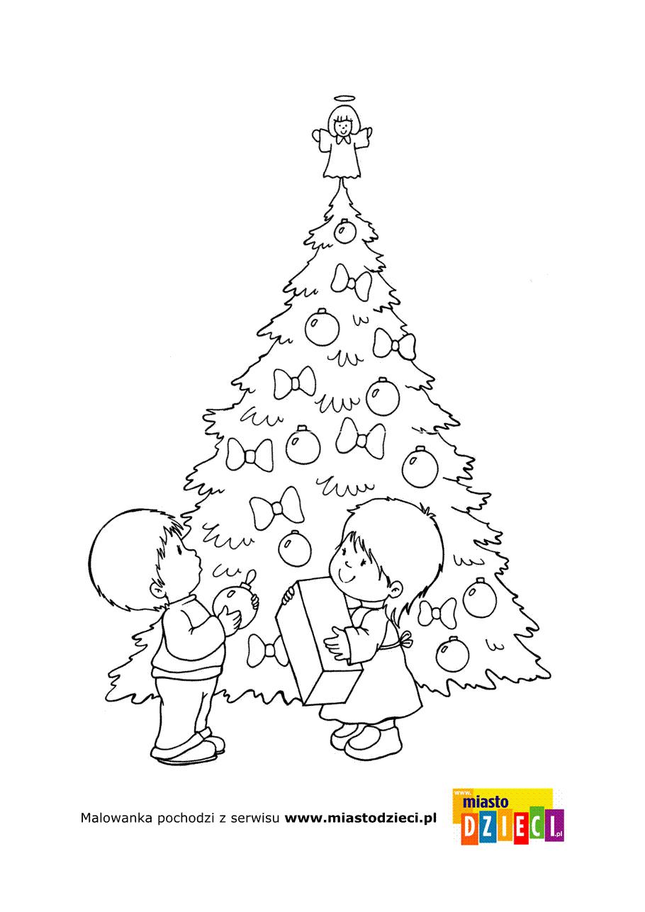 Kolorowanka Dzieci I Choinka Christmas Coloring Pages Christmas Colors Home Decor Decals