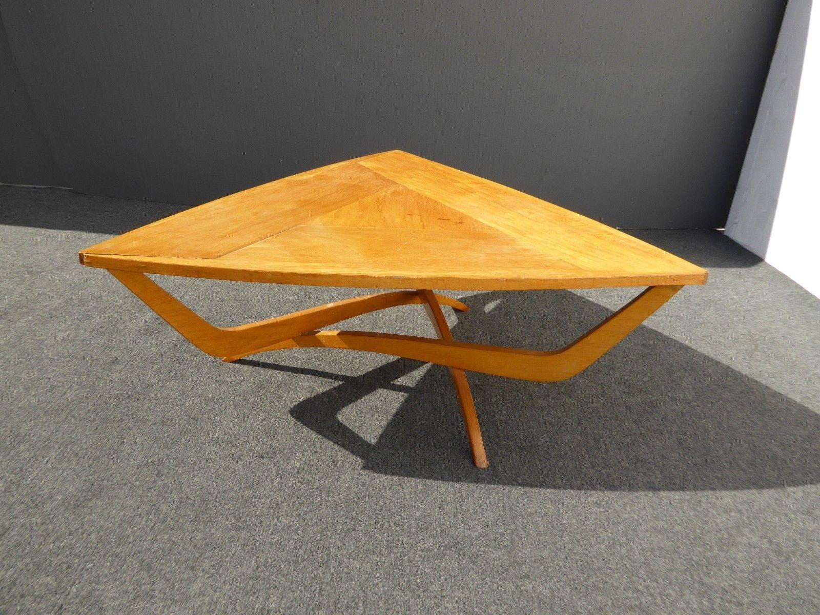 Unique Vintage Danish Modern Art Deco Style Solid Wood Triangle