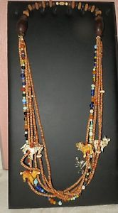 Wood-amp-Glass-Bead-Multi-Strand-Tribal-Necklace-with-Animals-28-034-length