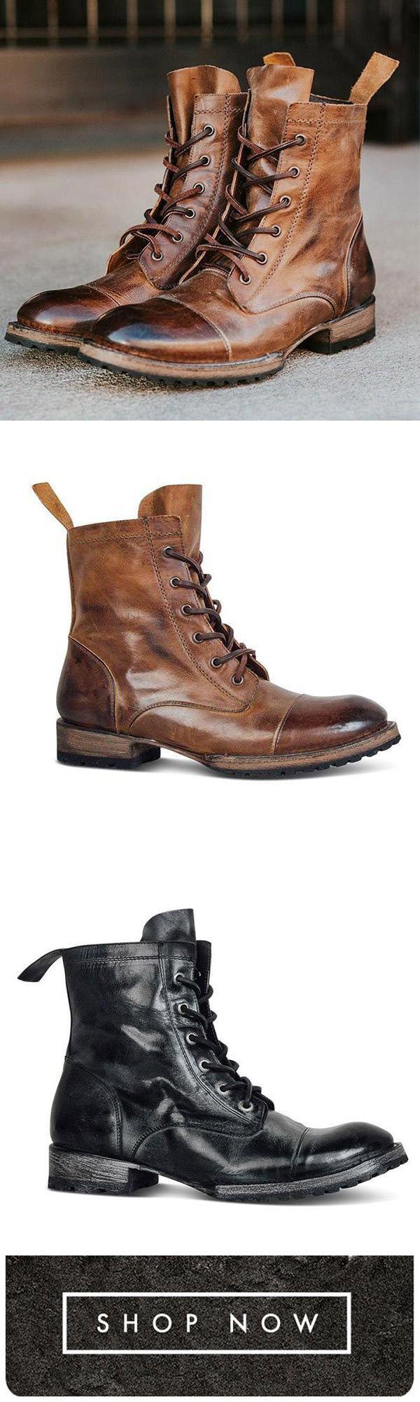 4eef2eda283ab Florychic Men Fashion Vintage Mid Boots