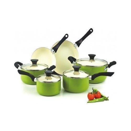 Green Cookware Set Kitchen 10 Piece Ceramic Non Stick Pots And