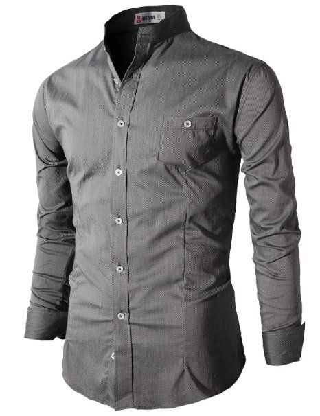 92ae26a11d59ae Amazon.com: H2H Men's Slim Fit Shirt with China Collar Long Sleeves:  Clothing