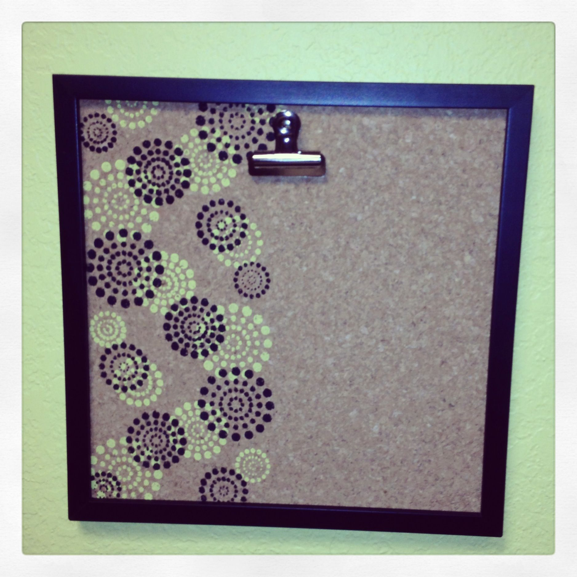 Cheap 12X12 Frame, Cork Board And Stenciled With Two Colors