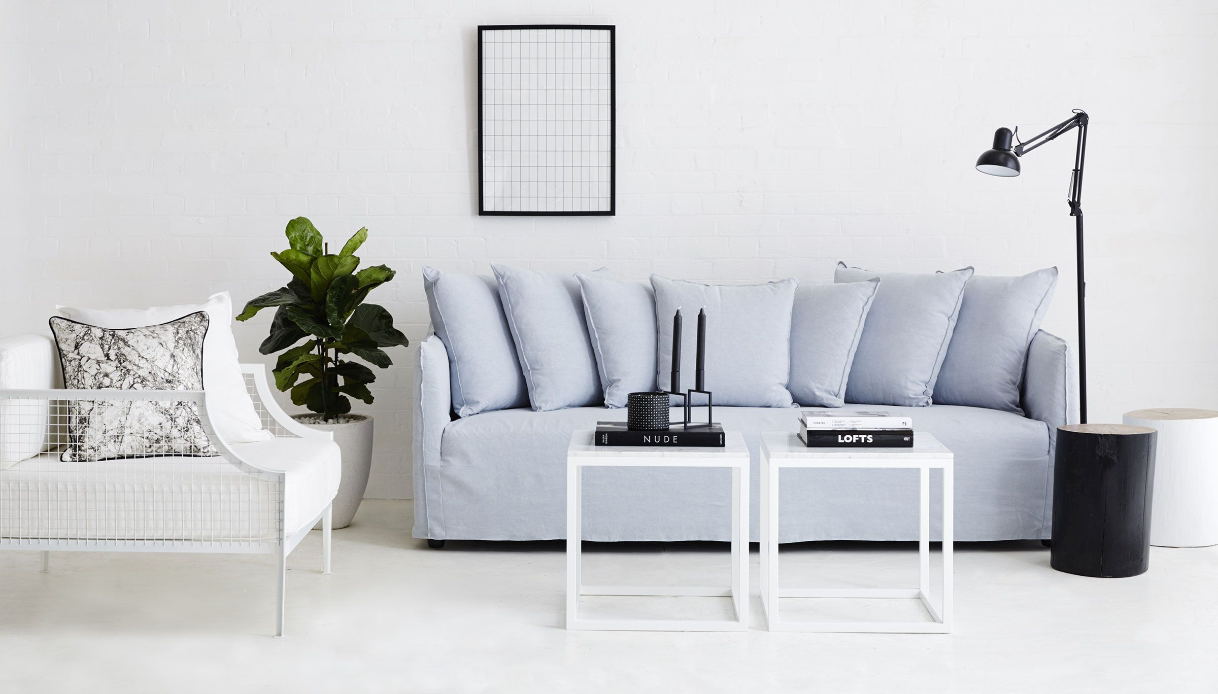 Urban Couture Catalogue Shot Featuring Our Bronte Italian Linen Sofa Italian Carrara Marble Side And Coffee Table Rex White Pow Furniture Contemporary Living Room Furniture Contemporary Sofa