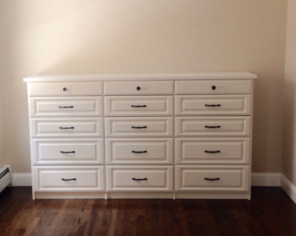 Antique white Classic built-in with Regency top Closets by Design -Boston By  Carolyn