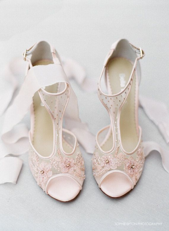 Blush Nude Pink Illusion T Strap Beaded And Flower Embellished