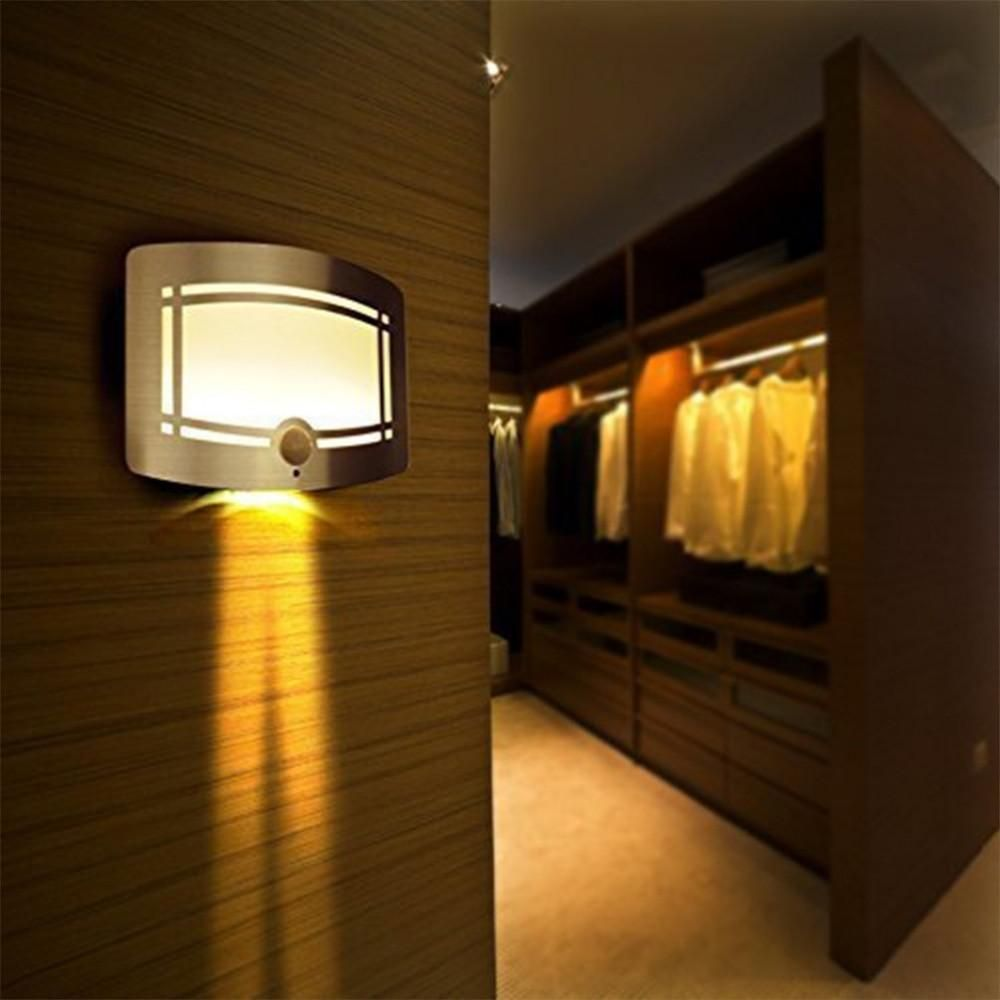 Battery Powered LED Infrared Motion Sensor Wall Night Light in