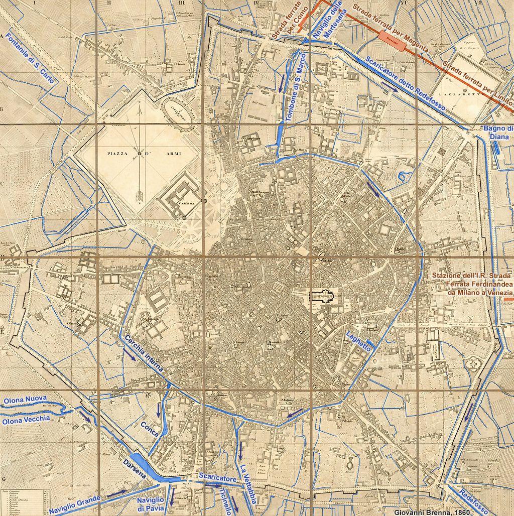 Milano, 1860 - Milano. Milano, vie d'acqua.