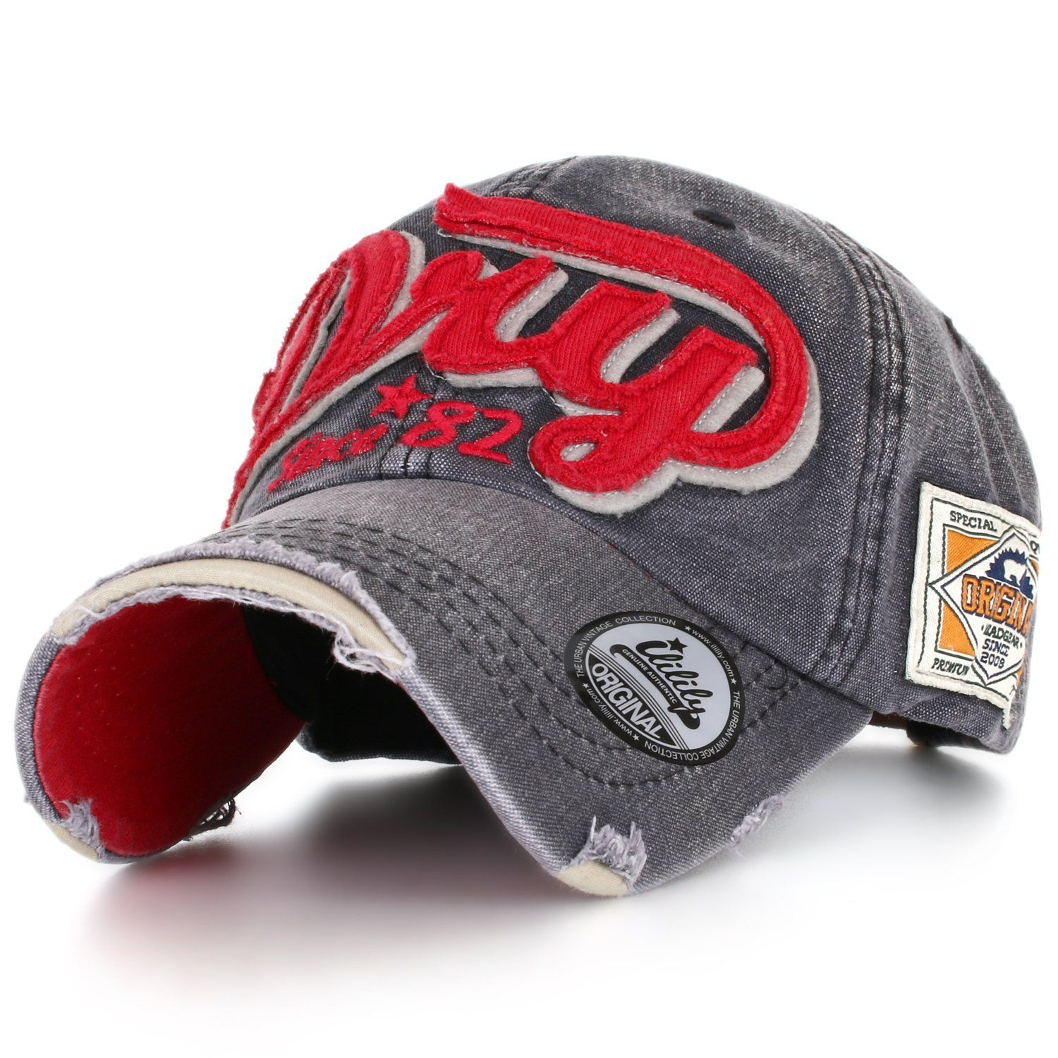 ililily Distressed Vintage Style Denim DRY Baseball Cap Pre-curved Bill and  Embroidery on Front and Side with Adjustable Leather Strap Snapback Trucker  Hat ... d98a7cd832c