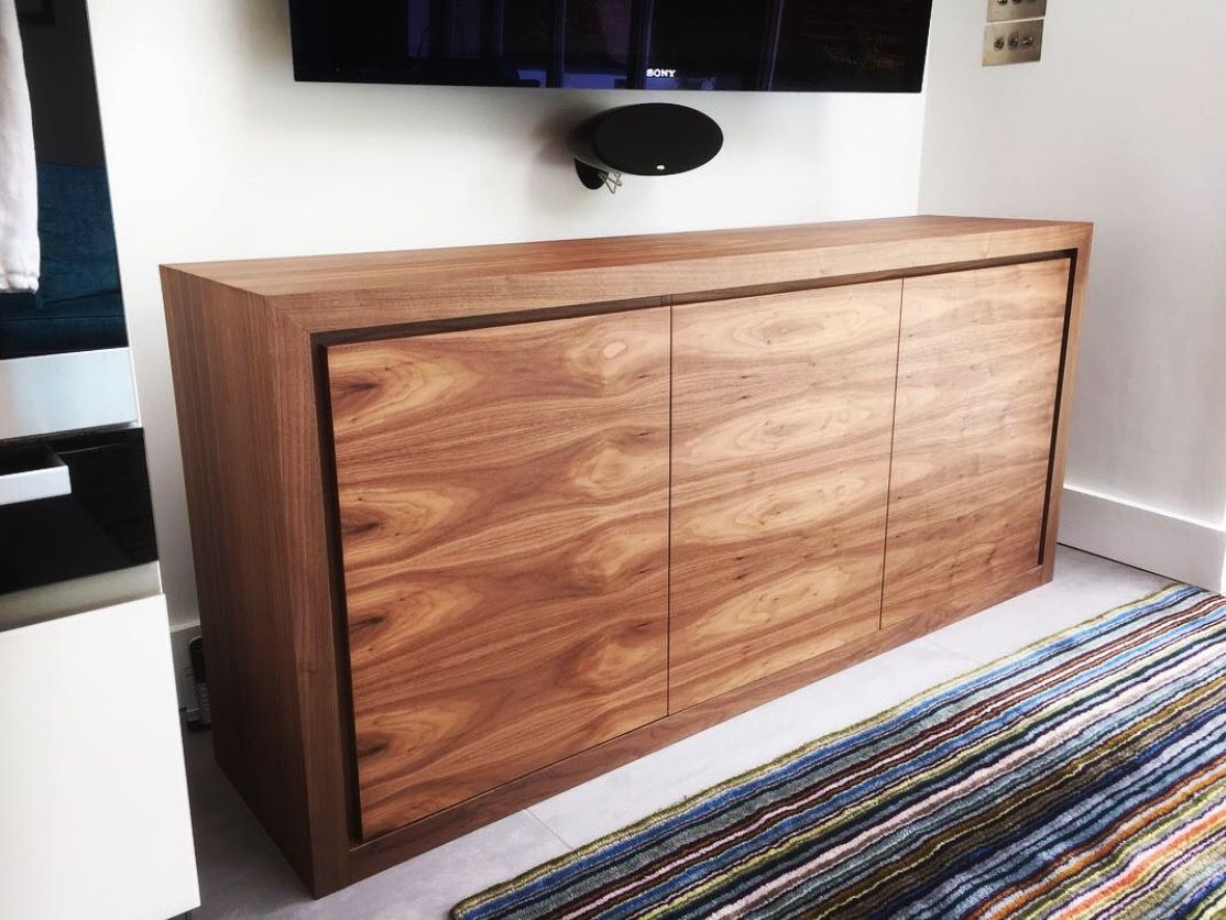 Media Cabinet In American Black Walnut Bespoke Tv Cabinet Av  # Meuble Tv Metal Gris