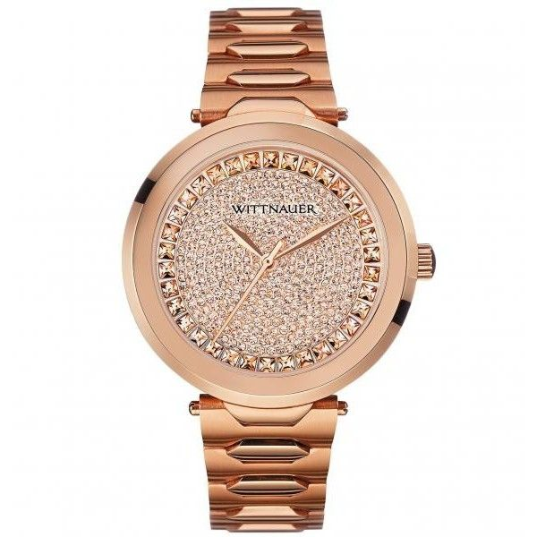 Women's Crystal Accented Wittnauer Quartz Watch w/ Rose Gold Tone... ($395) ❤ liked on Polyvore featuring jewelry, watches, pink jewelry, holiday jewelry, sapphire jewelry, rose jewelry and quartz jewelry