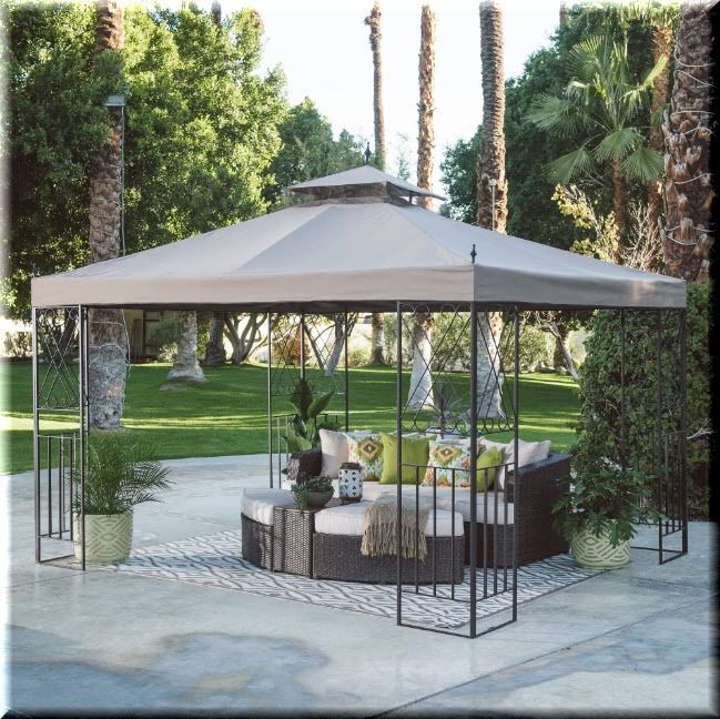 Gazebo Canopy 10x12 Tent Outdoor Patio Backyard Shelter Steel Polyester  Beige | EBay
