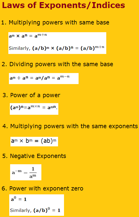 Laws Of Exponents Or Indices Exponents Exponent Laws Math Methods