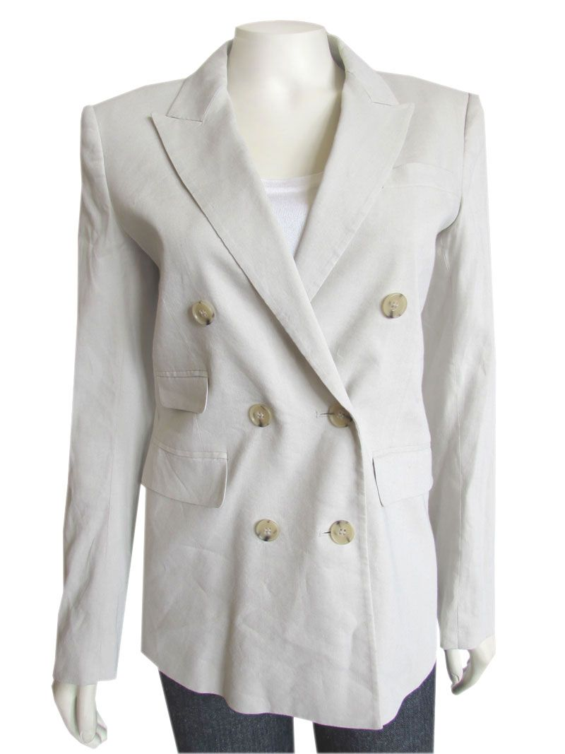5c12fc15df3 The perfect Theory double breasted blazer done in a bone colored stretch  linen! Jacket features