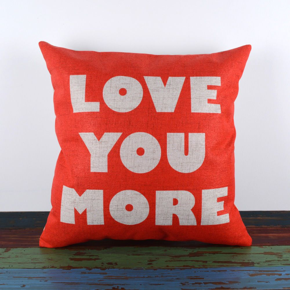 Cm wedding gift love you more words red cushion cover throw