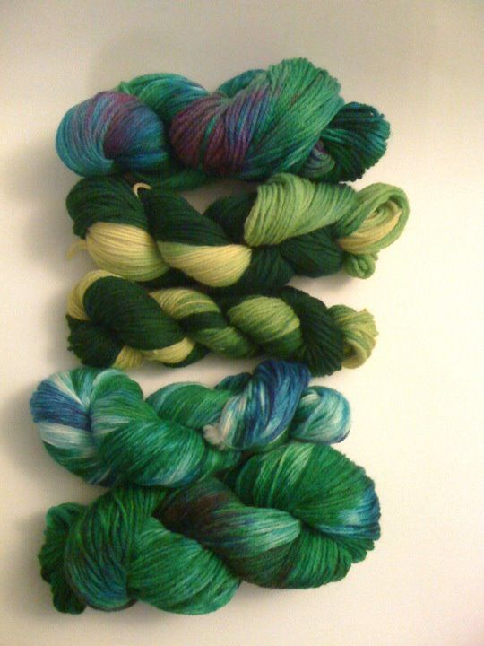 Some yarn I dyed a few years ago.  University of Oregon Ducks colors for my son, and a few for a friend.