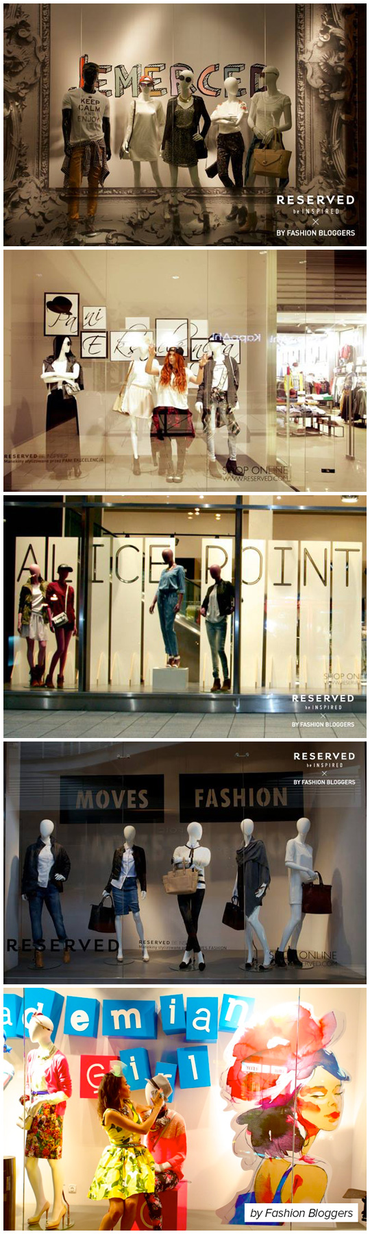 Fashion bloggers dressing Reserved windows