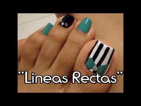 Lineas rectas decoraci n de u as para los pies facil straight line des perfection - Decoracion facil de unas ...