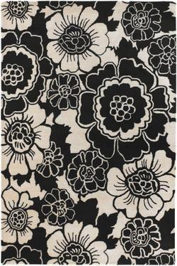 Chandra Faro FAR 6202 Black White Rug Floral area rugs