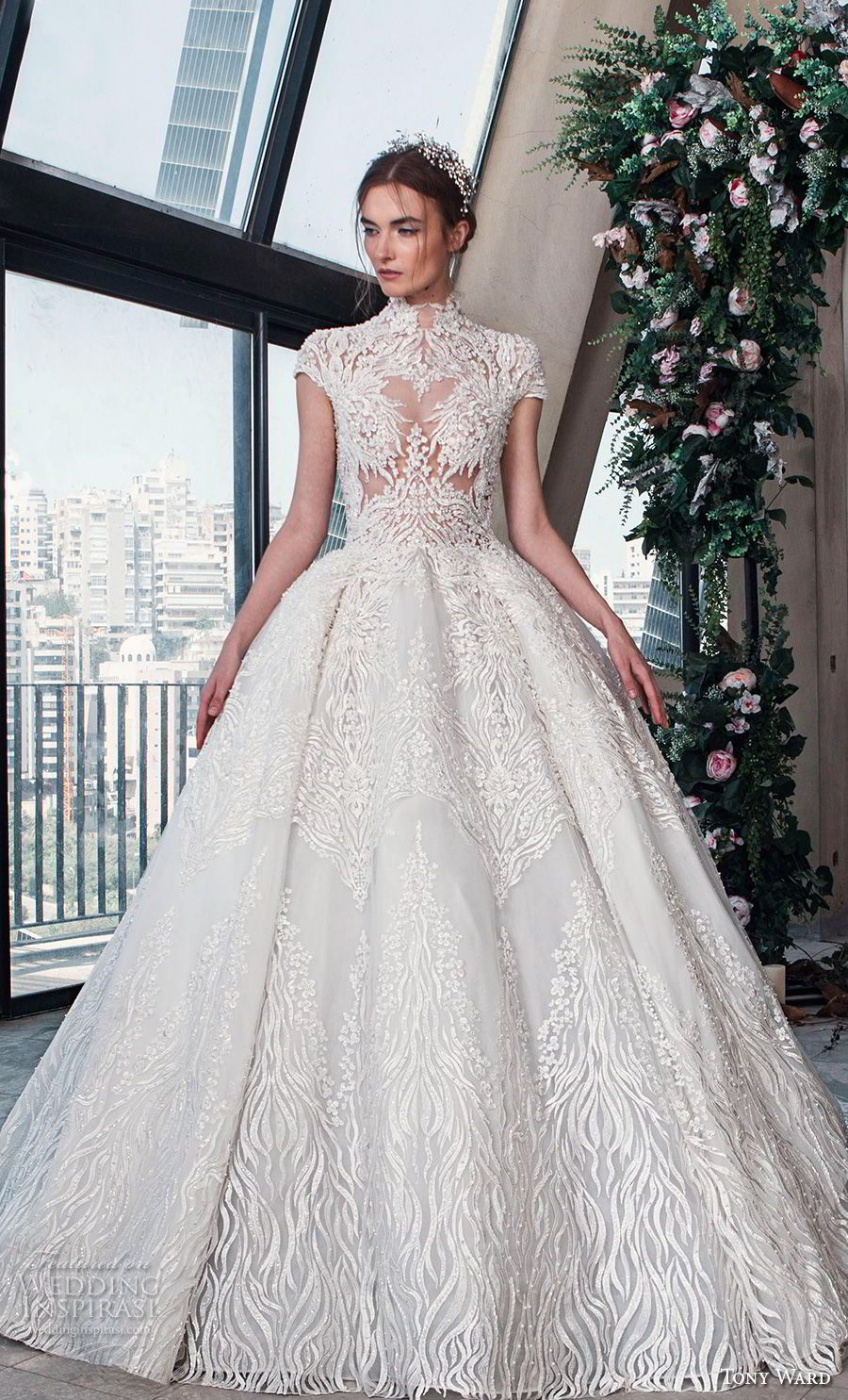 tony ward mariee 2019 cap sleeves high neck full embellishment romantic princess  ball gown a line wedding dress chapel train (10) mv -- Tony Ward La Mariée  ... af18f69a6294