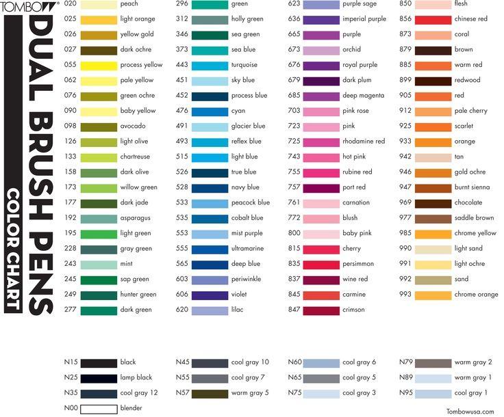 Tombow Dual Brush Markers Color Chart Google Zoeken Color Div