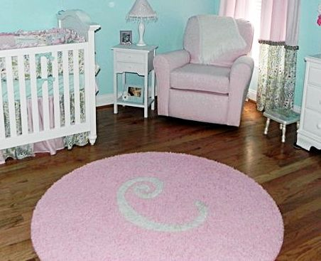 Aqua Light Pink White Nursery With Custom Initial Rug