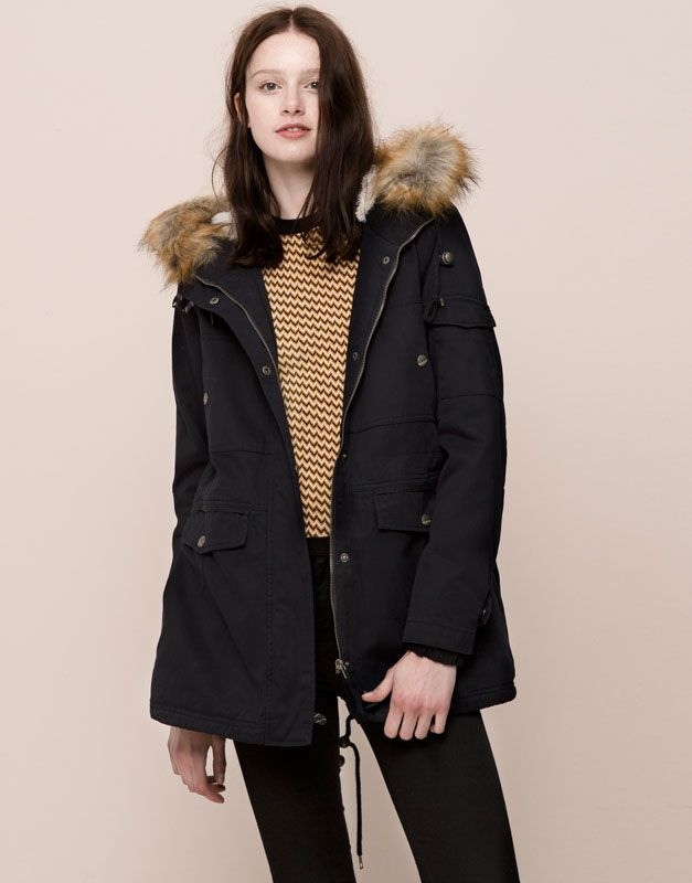 cotton parka with fur hood and several pockets coats and. Black Bedroom Furniture Sets. Home Design Ideas