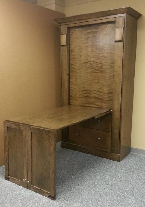 Folding desk added to the front of murphy beds also house renovation