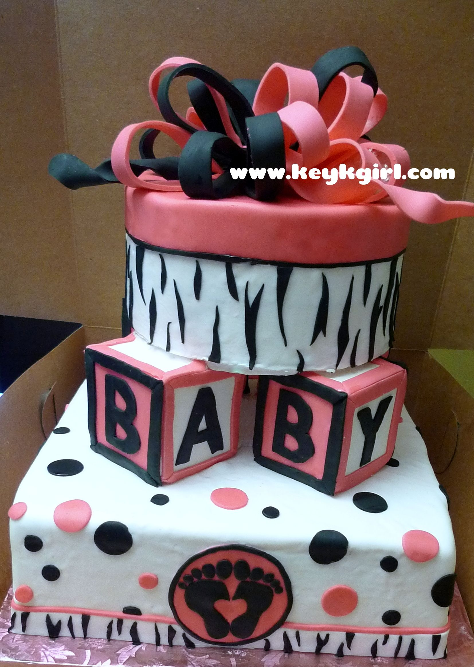 Pink And Black Baby Shower Cake Baby Shower Pinterest Black