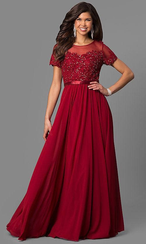 f6bd9ef80b9 Lace-Bodice Long Prom Dress with Short Sleeves in 2019
