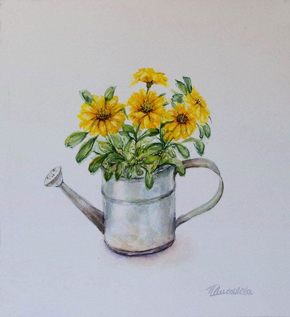 Yellow Flowers In A Watering Can Still