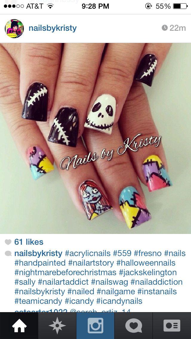 Pin By Bernardi On Nails Nightmare Before Christmas Nails Sally Nails Halloween Nails