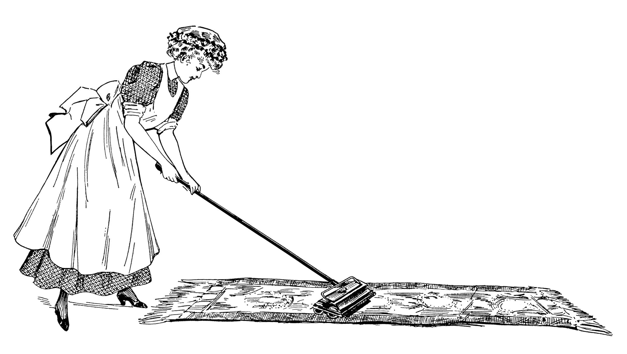 Vintage Cleaning Lady Clip Art Woman Dusting Image Woman