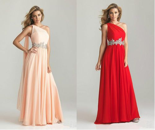 Red Nude Long One Shoulder Evening Dress Wedding Bridesmaid Formal