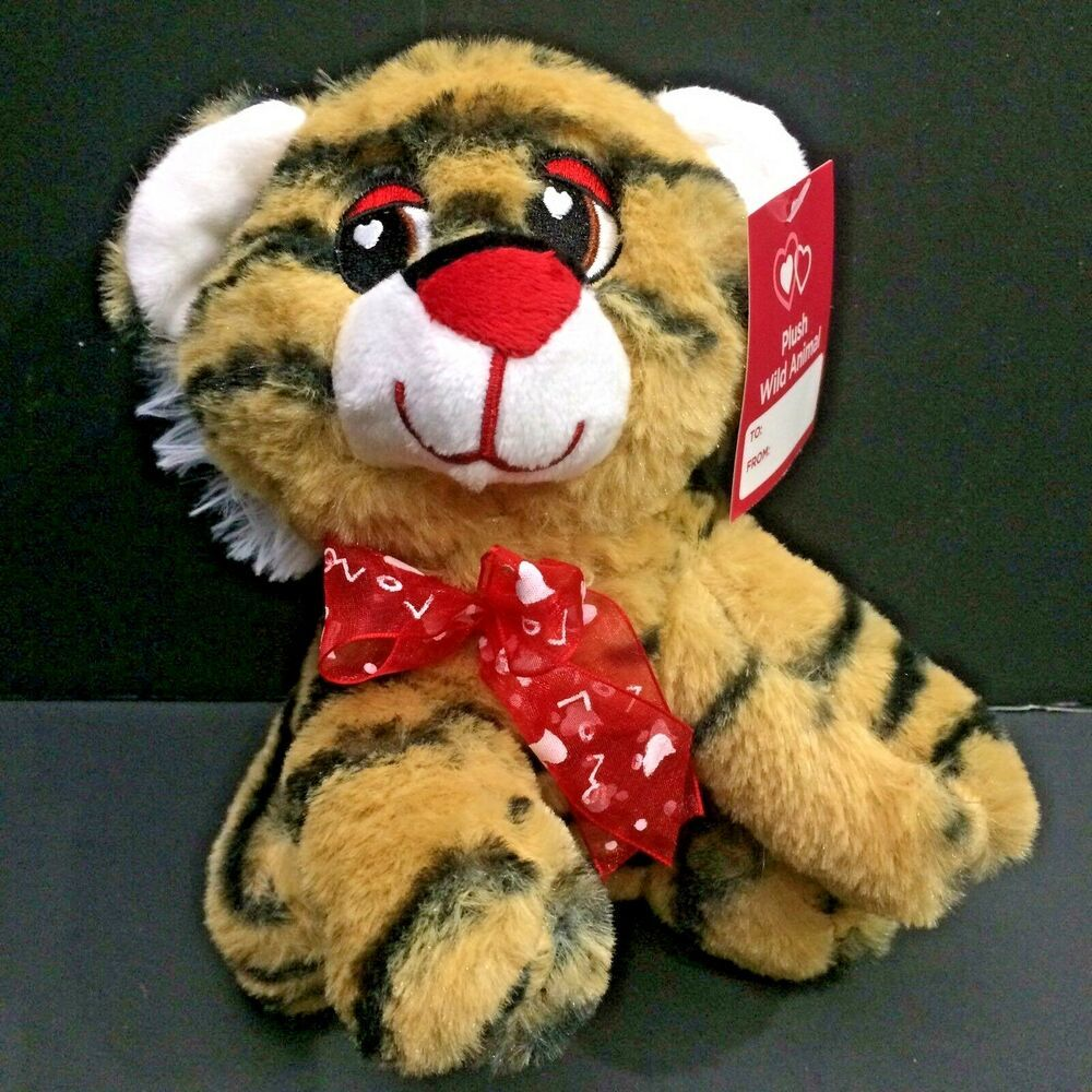 Details About Tiger Plush Valentines Gift Love Hearts Soft Eyes