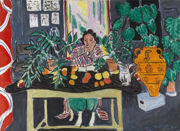 Interior with an Etruscan Vase (Intérieur au vase étrusque), 1940 -   Henri Matisse (French, 1869-1954),   oil on canvas.