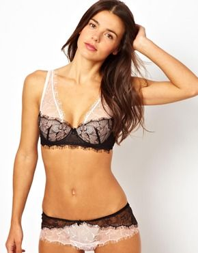 Mimi Holliday Blossom Noir Fully Padded Super Plunge Shoulder Bra and Panties