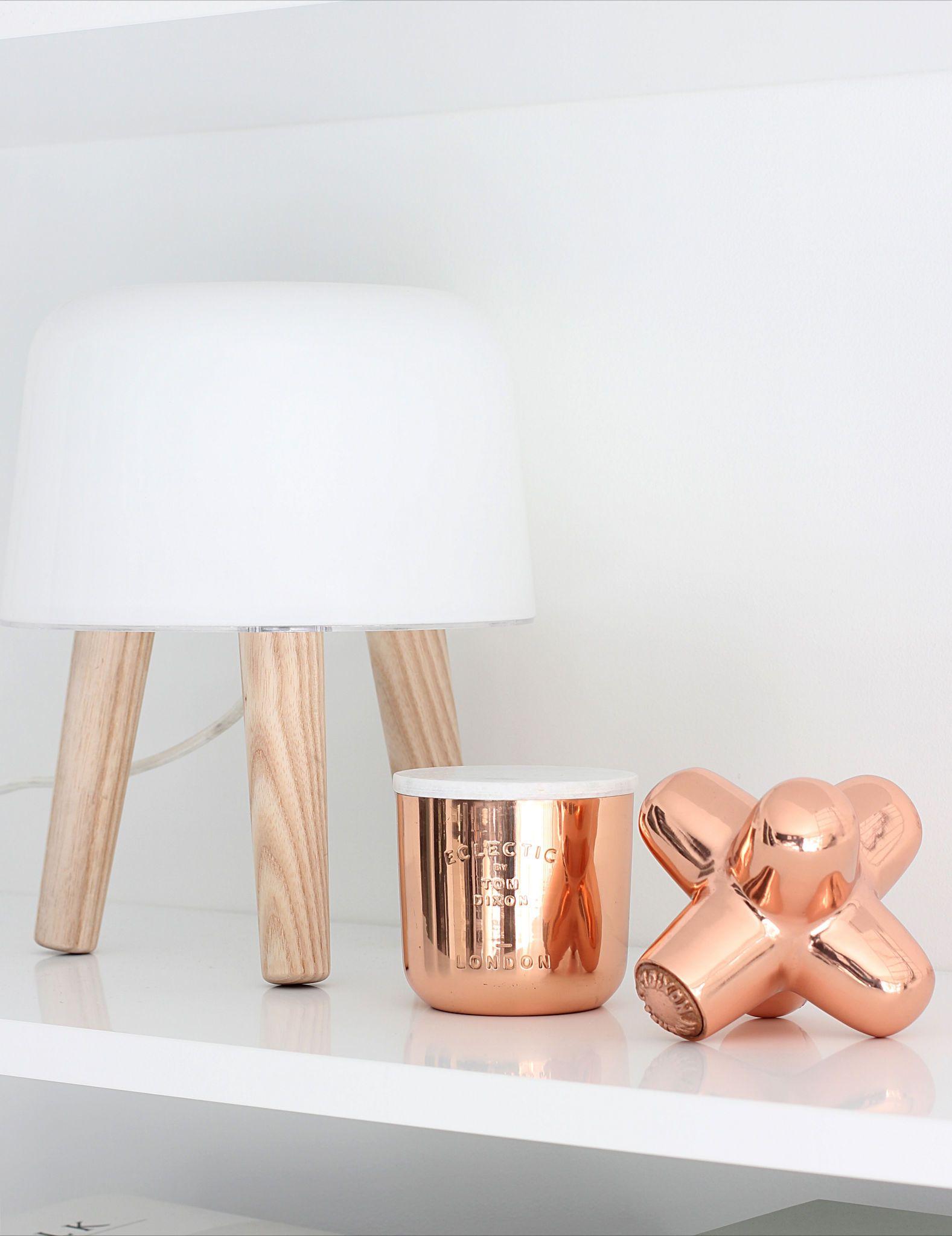 Via Nordic Leaves Copper And White Tom Dixon Cast Mini Jack And Candle Norm Milk Light Copper Interior Copper And Marble Copper Accessories