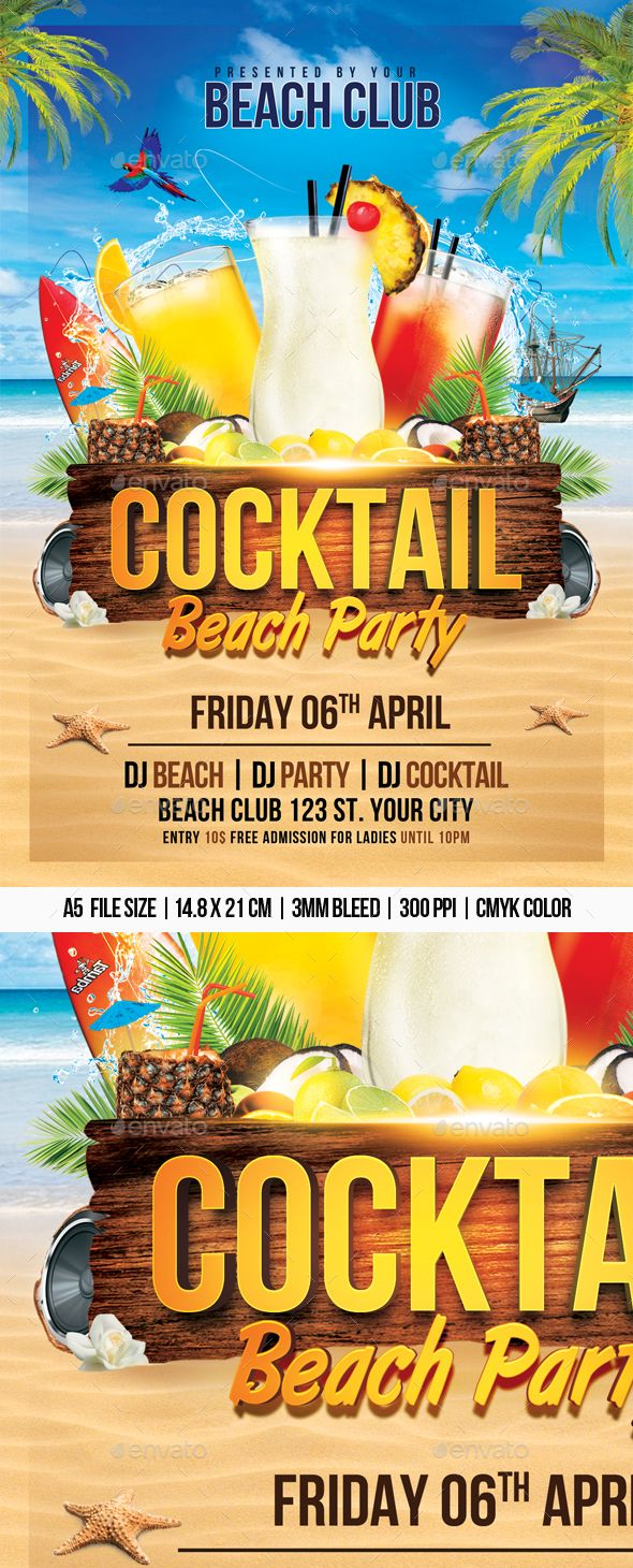 Cocktail Beach Party Flyer Template Psd Graphics Pinterest