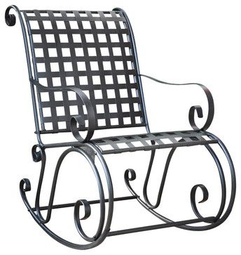International Caravan Mandalay Iron Scroll Rocker   Transitional   Rocking  Chairs   Cymax
