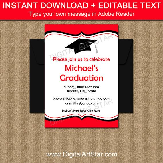 Graduation Invitation Instant Download - Printable Graduation - class reunion invitation template